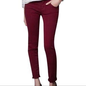 Zara Maroon Trafaluc Core Denim Skinny Jeans